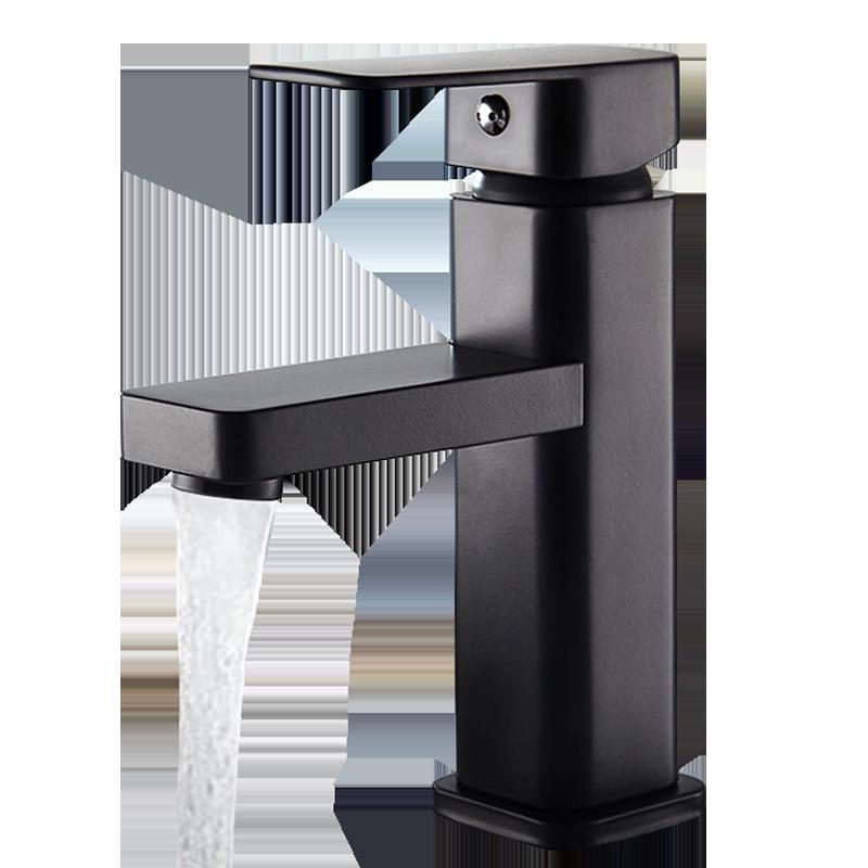 黑色面盆冷热水龙头台上盆加高卫生间浴室柜洗手盆洗脸盆单孔龙头