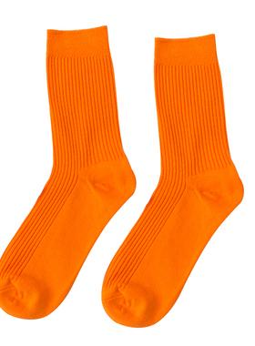 余文乐袜子潮流全棉中筒袜ins男女荧光色袜抽条堆堆袜女橙色袜子