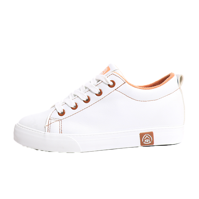 人本皮面加绒隐形内增高小白鞋女冬季保暖棉鞋韩版潮运动休闲板鞋
