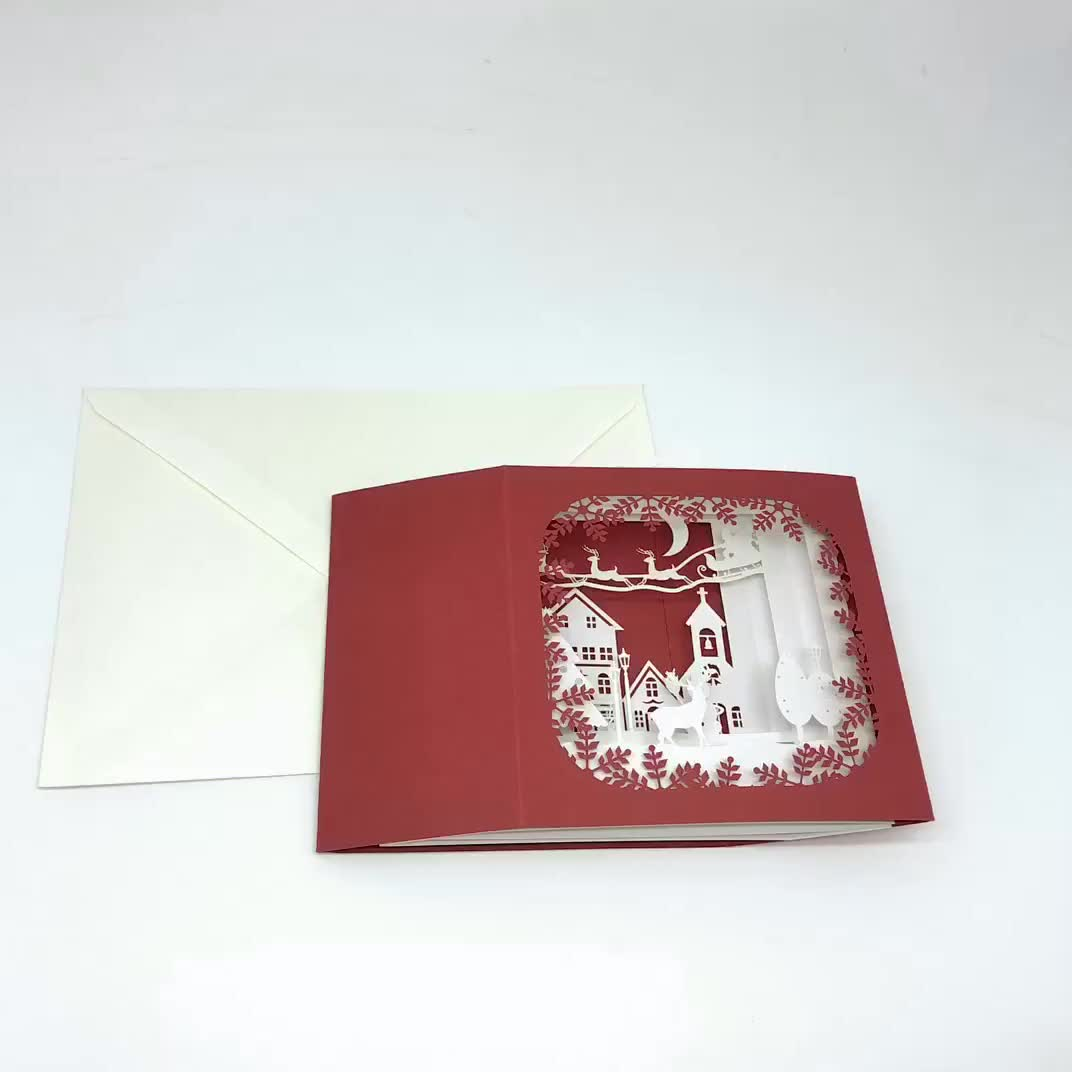 Custom 3d christmas pop up greeting cards