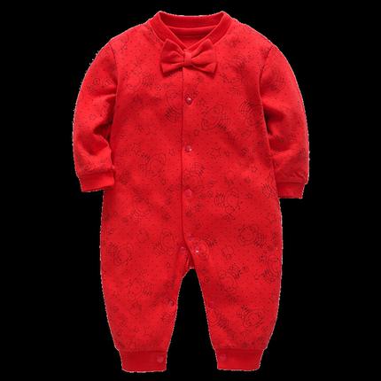 新生儿秋冬大红色纯棉周岁服连体衣