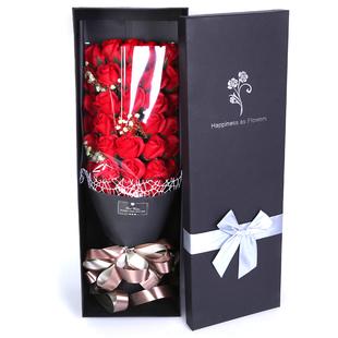 七夕情人節禮物玫瑰花束禮盒生日送女友肥香皂玫瑰康乃馨仿真花束