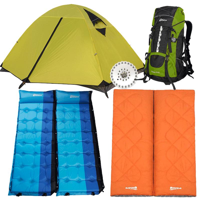 苔原地带户外帐篷睡袋充气垫防潮垫登山包帐篷灯双人双层野营装备