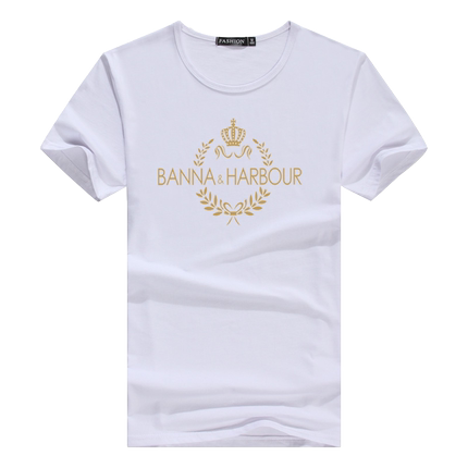 夏季男士短袖圆领韩版修身白色t恤