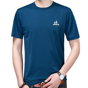 中年男士短袖夏40-50岁潮圆领t恤