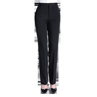 加绒直筒西装裤职业高腰黑色西裤