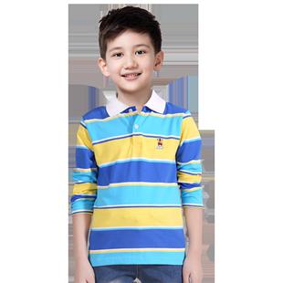 可樂凡尼男童長袖polo衫春秋純棉翻領男中大童上衣兒童衣條紋t恤