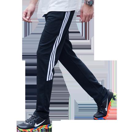 三道杠运动男青少年修身直筒卫裤