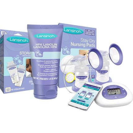 Lansinoh兰思诺智能双边电动吸奶器+乳头霜40g+奶袋50片+乳垫60片