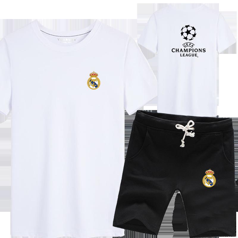 欧冠足球运动服短袖t恤短裤子套装男士皇马尤文马竞切尔西上衣服