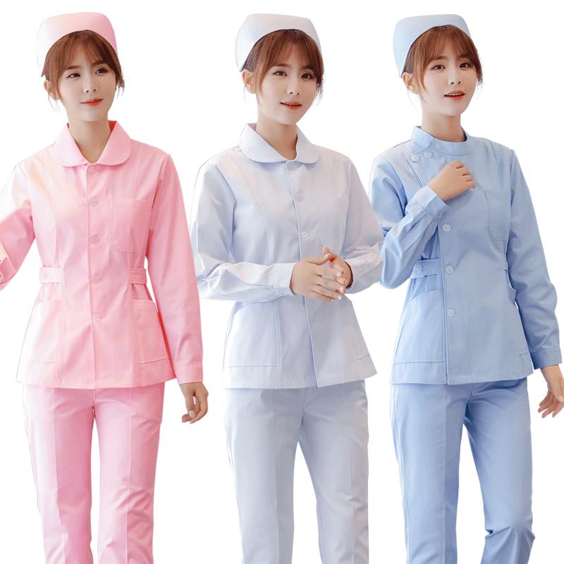 护士服长袖女冬装短袖两件套圆领修身分体套装全套短款护工工作服