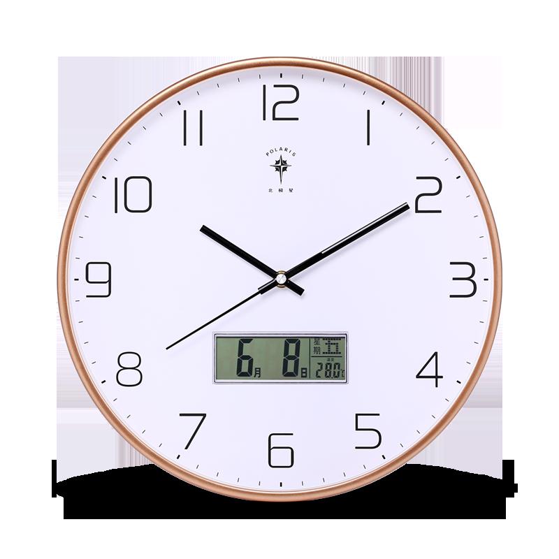 北极星北欧挂钟客厅时尚创意万年历电子钟大气现代家用静音时钟表