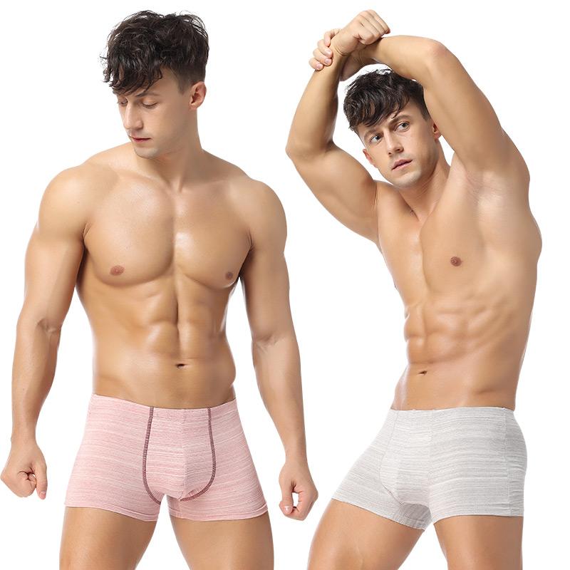 2条装 透气舒适亲肤有机彩棉青年男士内裤 中腰运动四角平角裤