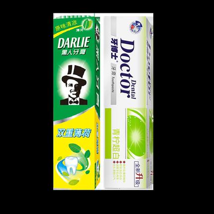 黑人双重薄荷牙膏225g175g120g除口臭清新口气护龈防蛀牙成人套装