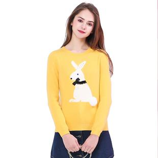 简朵冬季新款套头羊毛兔毛打底衫