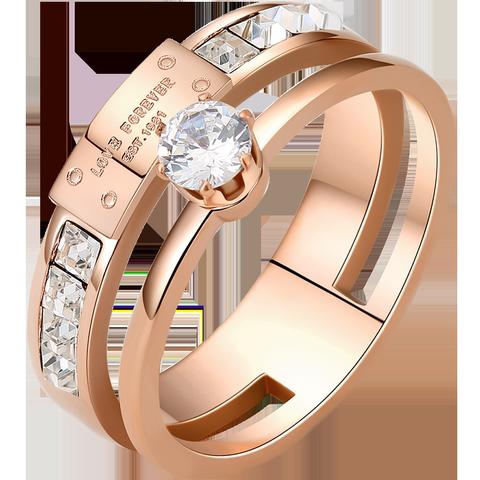 食指钛钢戒指女日韩玫瑰金潮人网红学生个性大气时尚指环女可刻字
