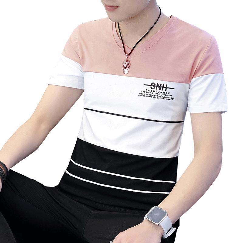 男士短袖t恤2018夏季新款v领半袖上衣T恤男潮流韩版青年修身体桖