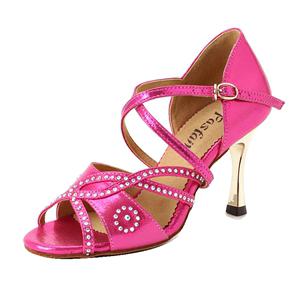 红舞鞋电镀跟女国标交际舞拉丁舞鞋