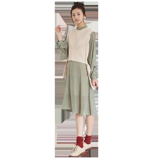 2018新款秋季女套裝韓版bf原宿風毛衣背心裙兩件套連衣裙港味學生