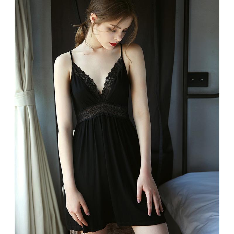 檬面猫 黑色莫代尔吊带睡裙女夏季高腰修身和风露背性感睡衣薄弹