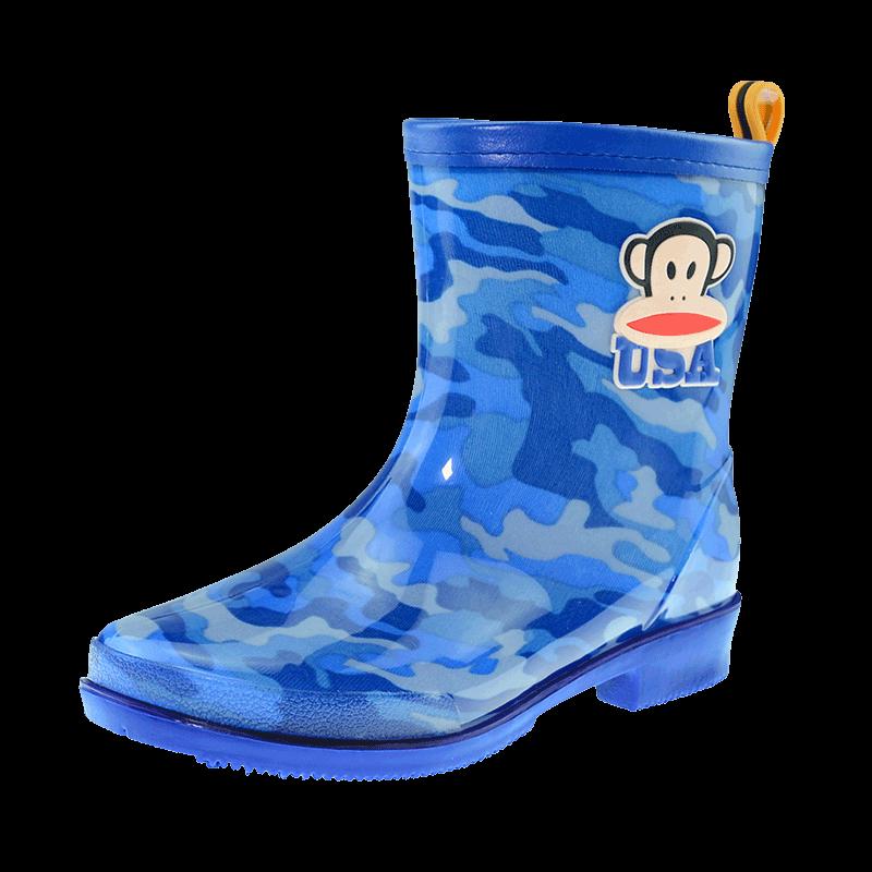 大嘴猴儿童男女小孩中学生迷彩雨靴