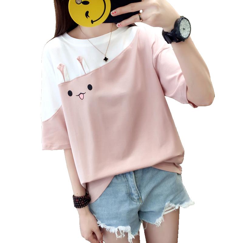 夏装拼接拼色短袖女学生宽松韩版ulzzang百搭T恤可爱少女心上衣服