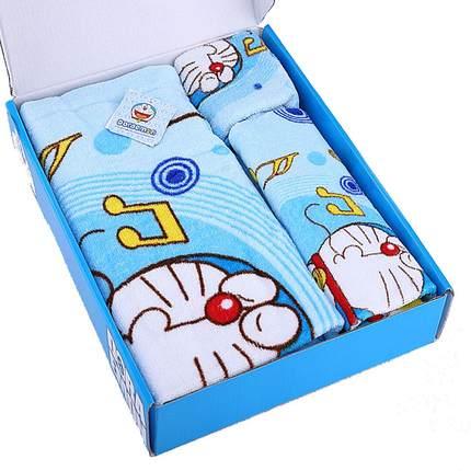哆啦a梦毛巾三件套礼盒装纯棉浴巾