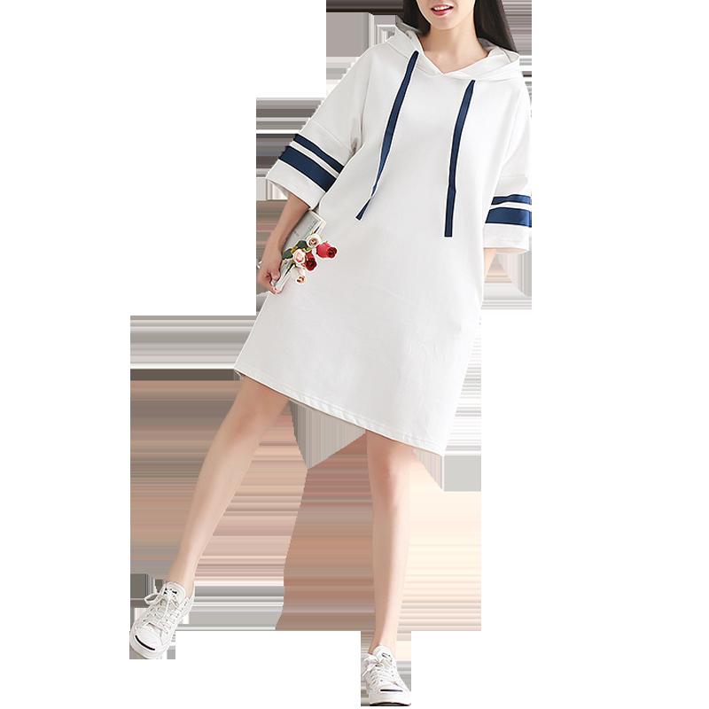 辣妈孕妇时尚女装夏装2019新款大码长袖上衣时尚中长款孕妇连衣裙