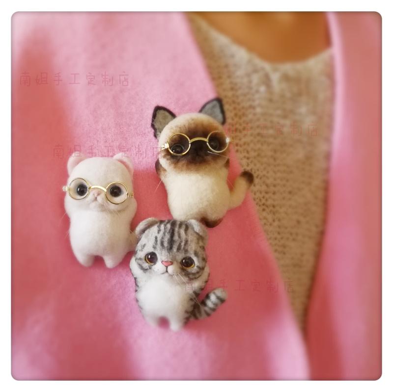 不织布搓搓乐 猫咪胸针戳戳乐材料包DIY 羊毛毡玩偶 挂件礼盒手工