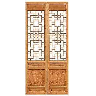 中式仿古復古裝修木雕客廳電視背景牆隔斷實木花格落地罩定製