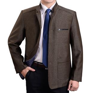 新品爸爸装春秋季厚款外套立领夹克