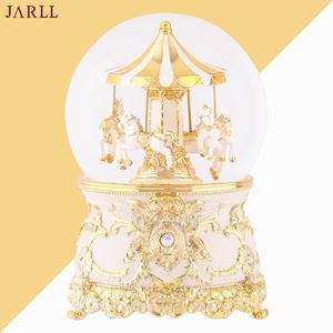 贊爾jarll水晶球旋轉木馬音樂盒