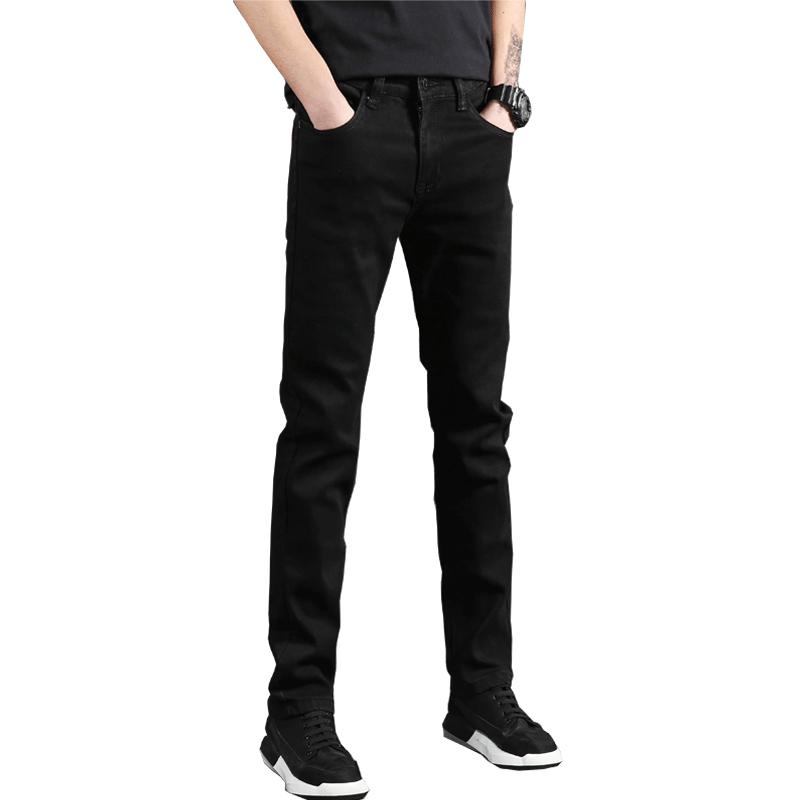 秋季男士纯黑色直筒牛仔裤男修身弹力秋冬款男式休闲牛子裤长裤
