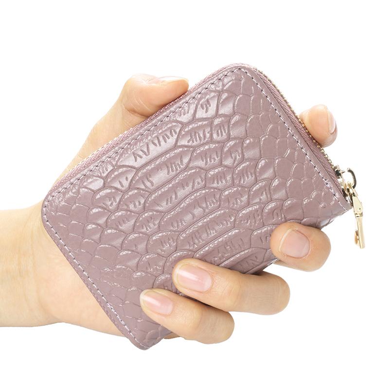 真皮卡包女式多卡位大容量欧美鳄鱼纹头层拉链风琴信用卡片零钱包