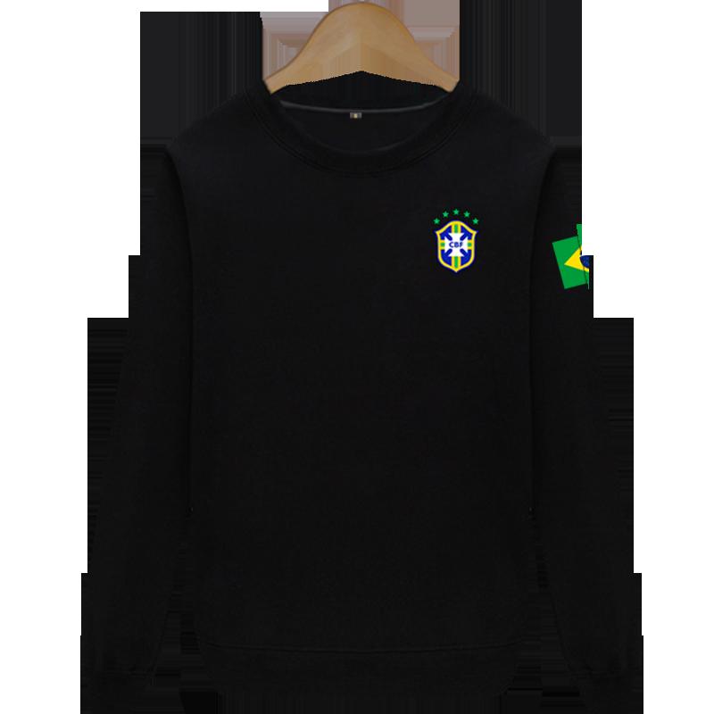 巴西队圆领薄款卫衣队服球衣足球运动服男长袖内马尔赫苏斯马塞洛