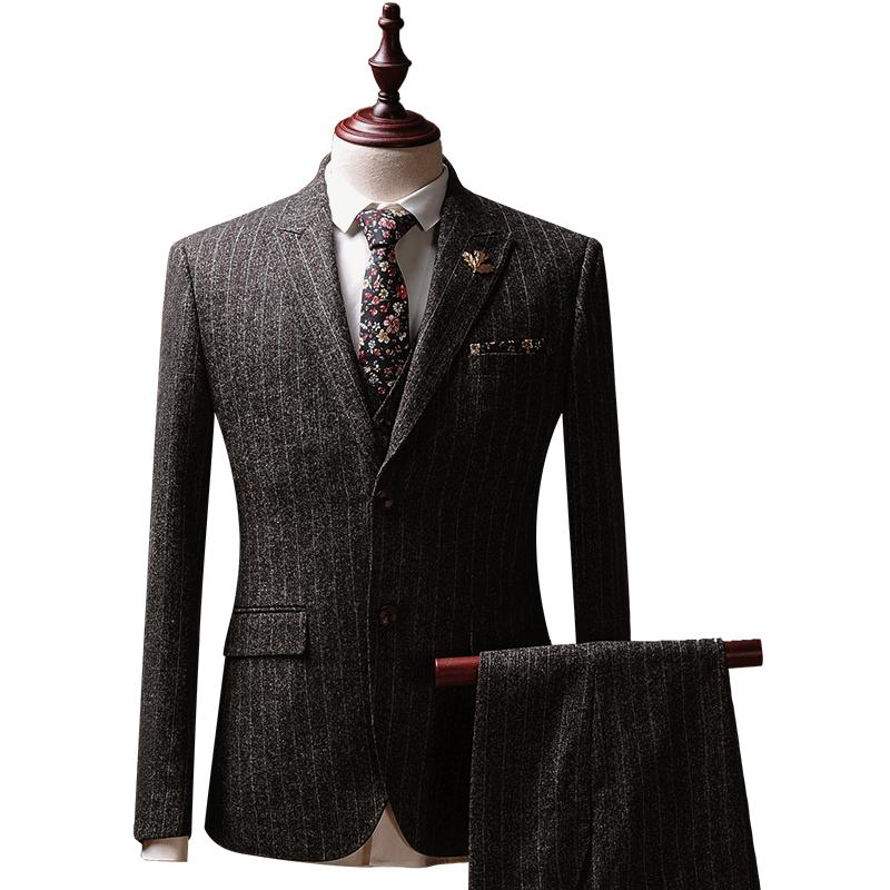 乐仕力西装男套装商务职业装修身四季韩版正装礼服新郎西服三件套