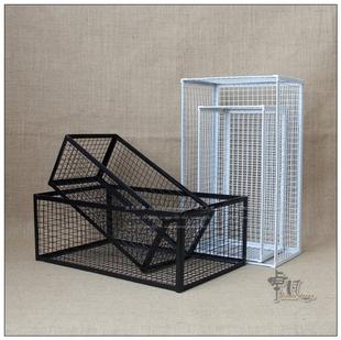 簡約歐式田園黑白色鐵藝收納花籃家居桌面雜物整理筐長方形鐵籃子
