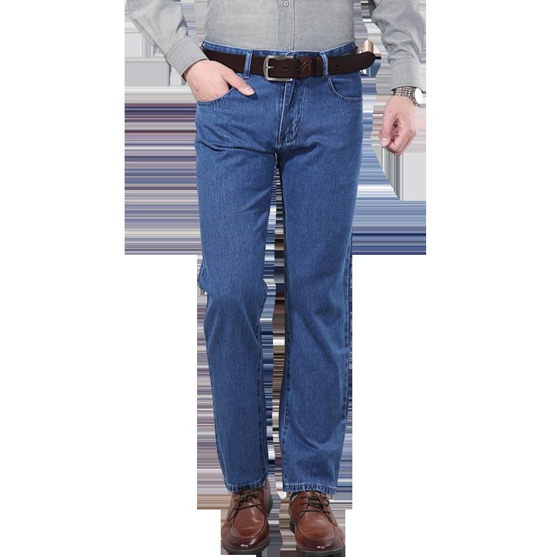 纯棉 男士牛仔裤秋冬款厚款中年宽松中腰直筒苹果中老年 柔软舒适