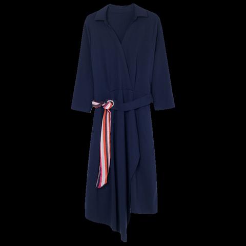 李红国际七分袖雪纺中长裙镂空拼接连衣裙