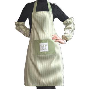 典冠布艺条纹韩版围裙+三件套袖套