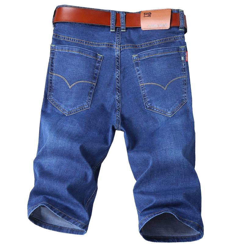 夏天薄款青少年男士七分牛仔裤男式修身7分裤弹力夏季短裤牛子裤