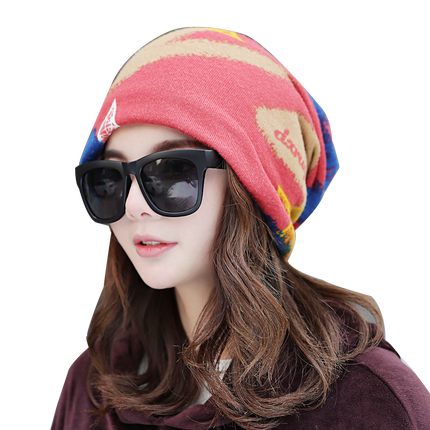 秋冬韩版潮多用围脖双层月子帽