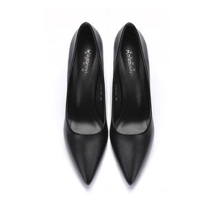 工作鞋女黑色高跟鞋細跟職業尖頭百搭正裝5cm學生禮儀單鞋皮女鞋
