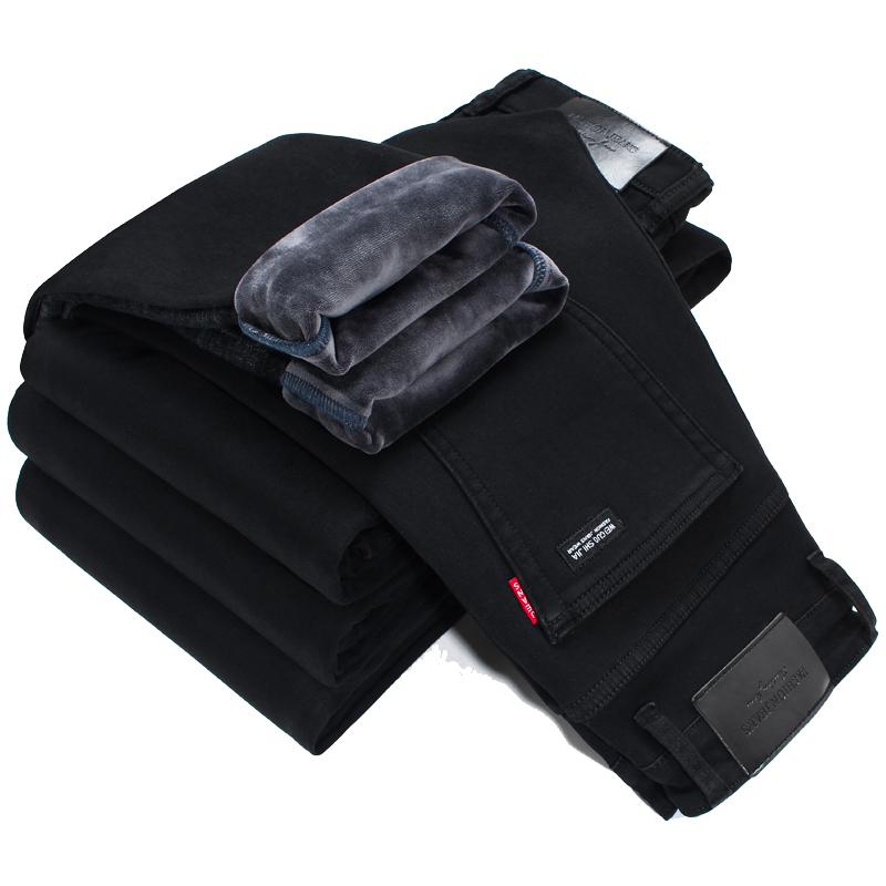 冬季男士修身加绒加厚纯黑色牛仔裤