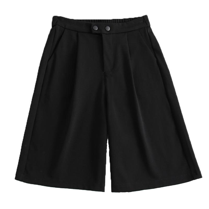 新款直筒五分裤女黑色bf风