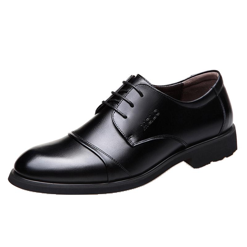 男士真皮皮鞋英伦商务正装透气皮鞋春季圆头系带休闲内增高男鞋子