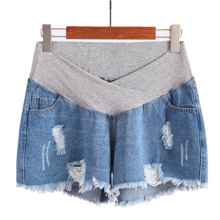 孕妇短裤夏季薄低腰打底托腹牛仔裤