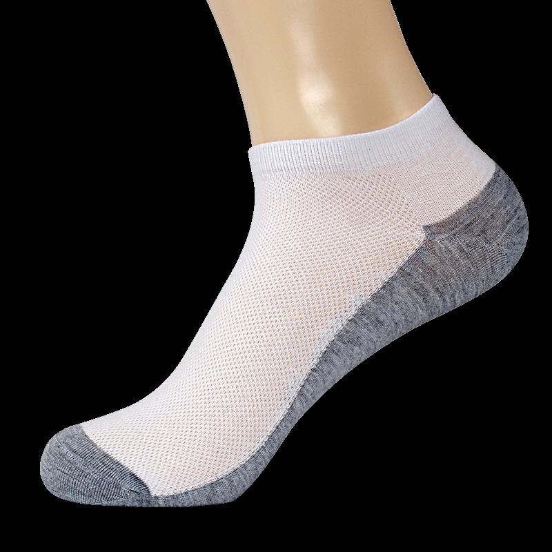 袜子男短袜薄款夏季透气网眼棉袜船袜超薄白色防臭低帮运动袜浅口