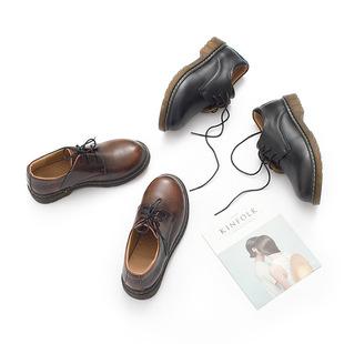 敍舊英倫小皮鞋女真皮復古馬丁靴平底圓頭森女文藝學生女鞋學院風