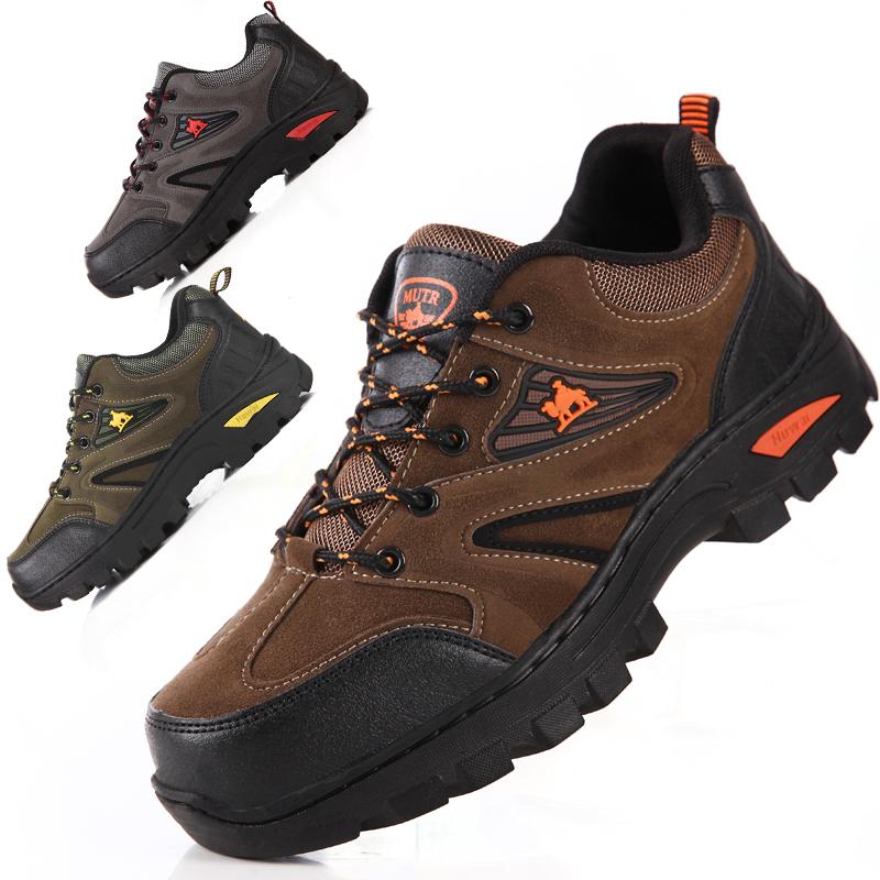 登山鞋男鞋春季户外休闲鞋防滑耐磨防水防滑工作鞋慢跑旅游鞋系带